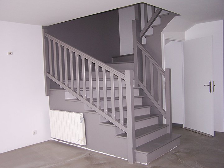 escalier gris et bois meilleures images d 39 inspiration. Black Bedroom Furniture Sets. Home Design Ideas